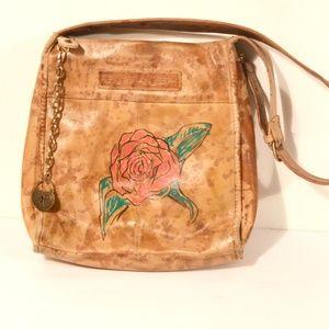 FOSSIL Hippie Boho Leather Rose Shoulder Bag OOAK